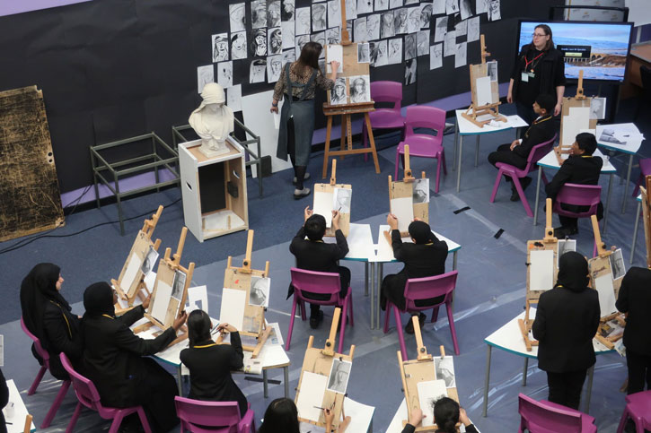 Students draw sculpture from Belton House supported by their teacher and Art UK's Learning Officer