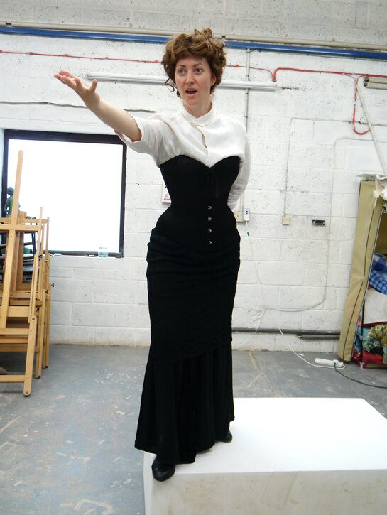 Trying out poses with Sarah Jenkins in the studio
