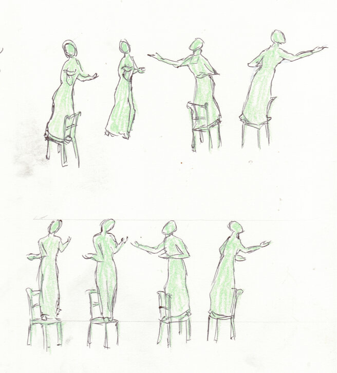 Gestural drawings for 'Our Emmeline' statue