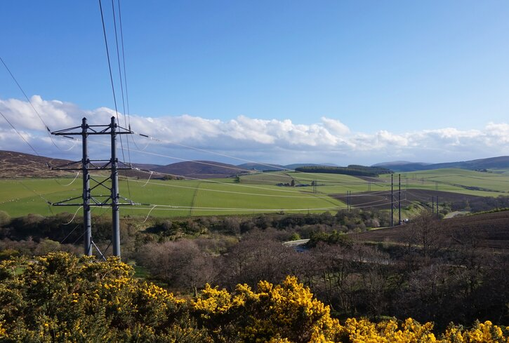 The view from Mary's window of Moray countryside (and pylons!)