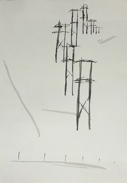 Mary's brush and ink drawing of the electricity pylons