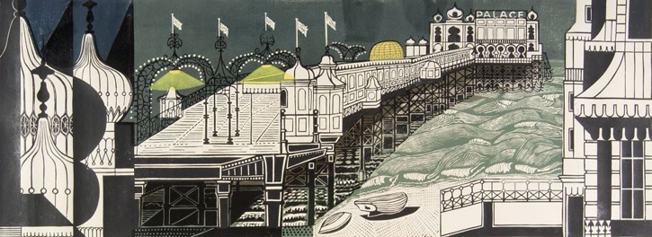 Linocut from the second edition of 'Brighton Pier'