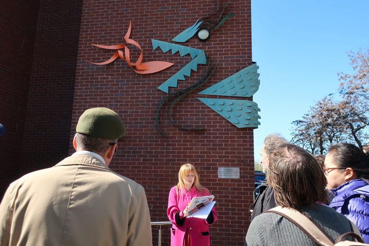 The group find out about wall-based sculpture 'Dragon'