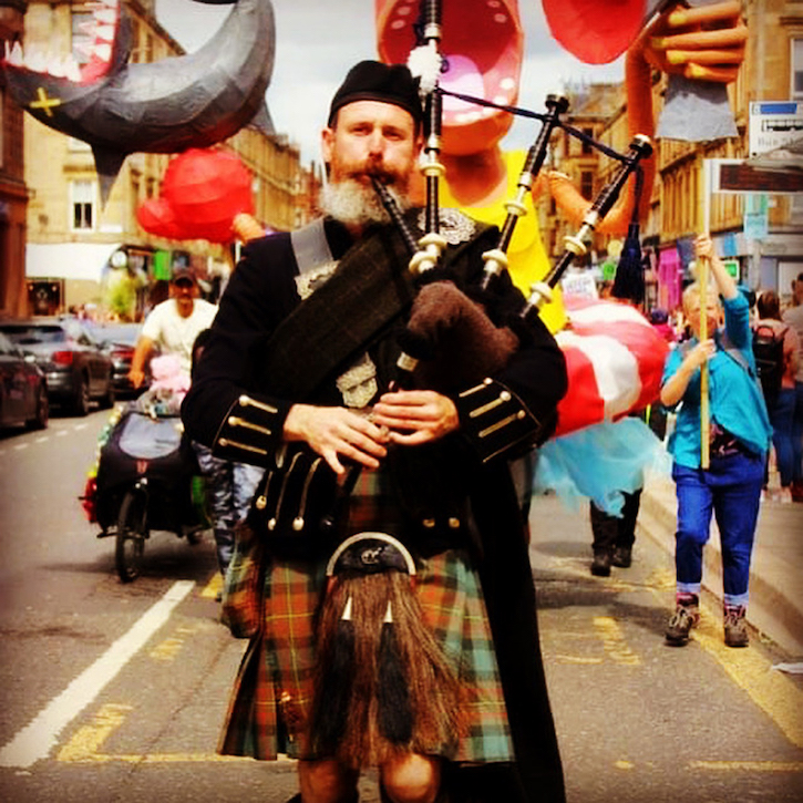 Jim Ewen also works as a carpenter, plasterer – and professional bagpiper