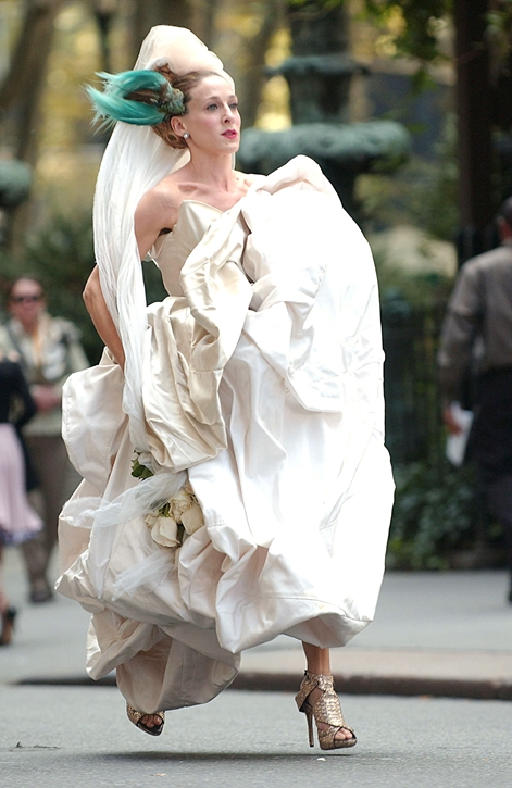 Sarah Jessica Parker wearing a Vivienne Westwood gown on location for 'Sex and the City: The Movie'
