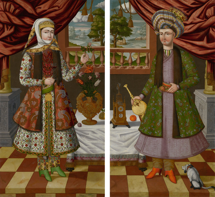 A pair of portraits: Portrait of a Woman from New Julfa and Qizilbash Reza