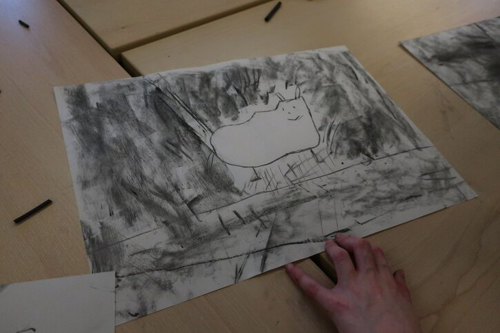 One pupil's charcoal sketch of his pet dog