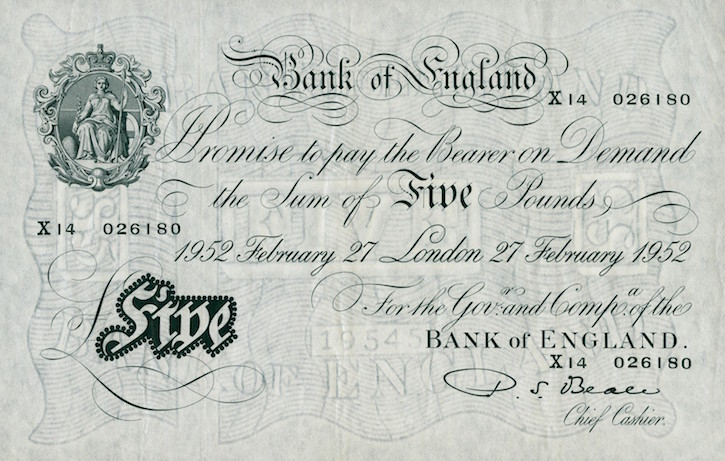 Bank of England's £5 note, 1952