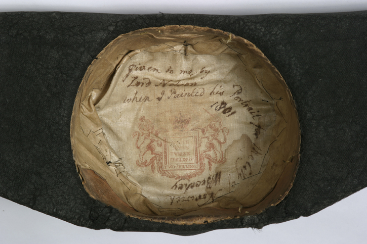 Interior of undress hat worn by Nelson at the Battle of the Nile