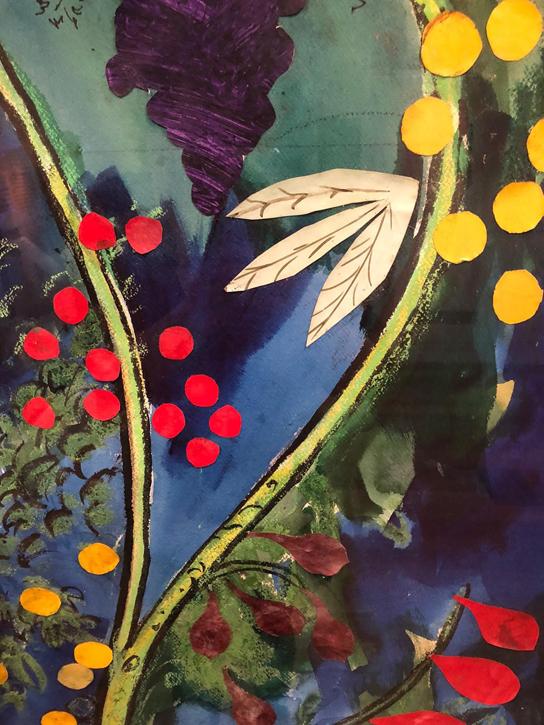 Colourful close-up of the Farnborough cartoon for All Saints Church, West Berkshire