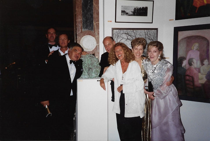 Eduardo Paolozzi and Nicole Farhi with friends at the Royal Academy