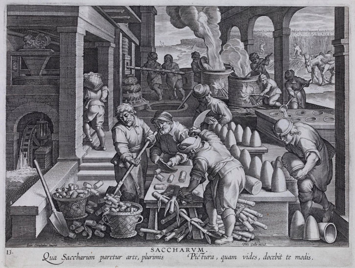 c.1580–1605, engraving made in Antwerp after Jan van der Straet (1523–1605). The scene shows men chopping down sugar cane stems, a table with rows of sugar loaves, stoves with boiling syrup and men in a sugar plantation