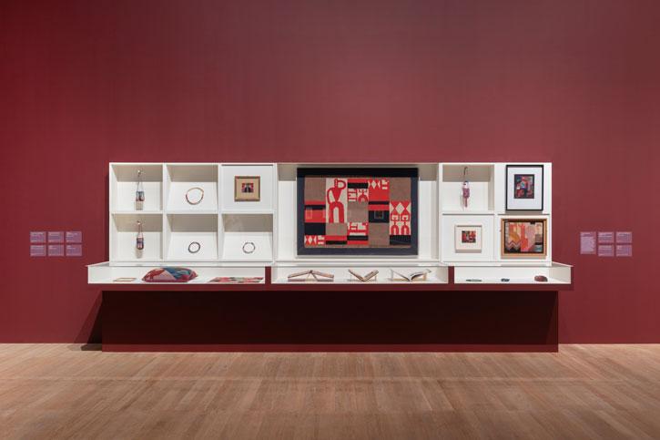 Installation shot of 'Sophie Taeuber-Arp' at Tate Modern, 2021
