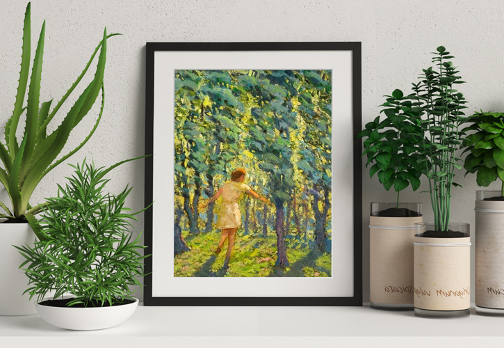 Framed print of 'A Child Running through a Sunlit Wood'