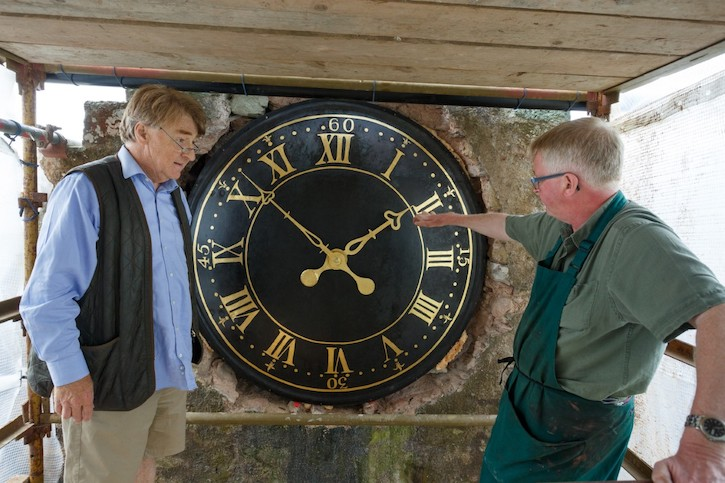 Francis with Grant Lees of Galashiels, who restored the mechanism of the tower clock