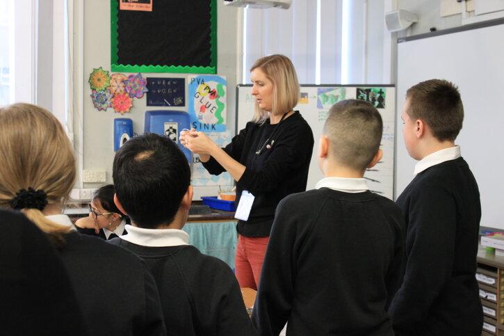 Svetlana Kondakova engages with pupils at St Machar Academy, Aberdeen