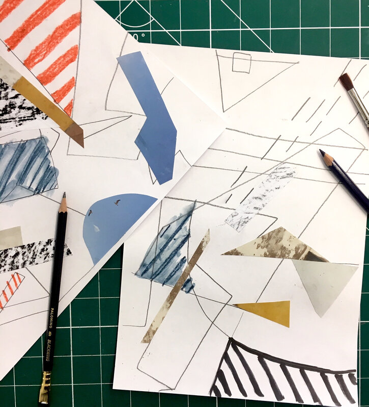 Creating a collage of shapes and colours on A4 sheets