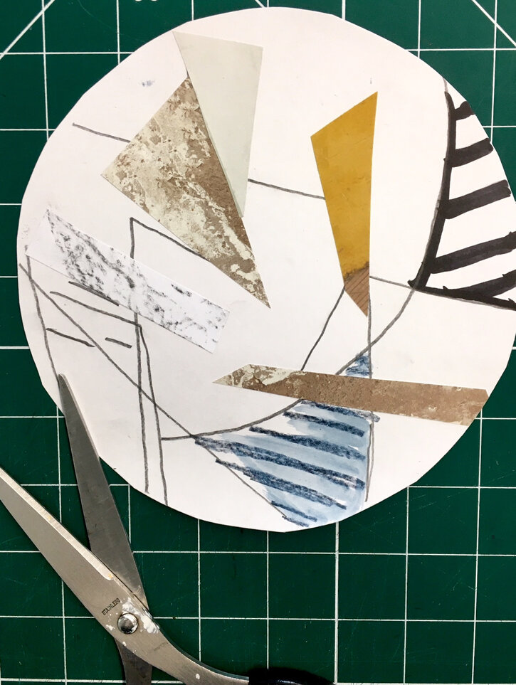 Cutting a circle in one of the A4 collage sheets