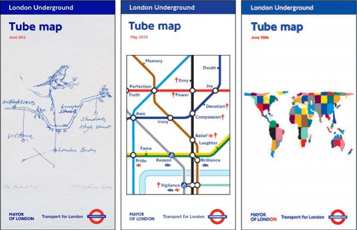 Tube map covers by Tracey Emin, Barbara Kruger and Yinka Shonibare