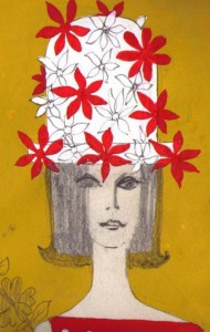 Summer beach hat design: red flowers on white straw