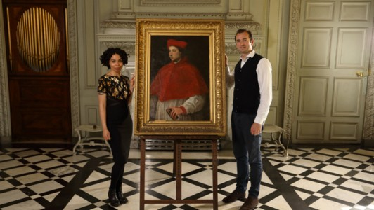 Emma Dabiri and Bendor Grosvenor with a possible Titian at Petworth House