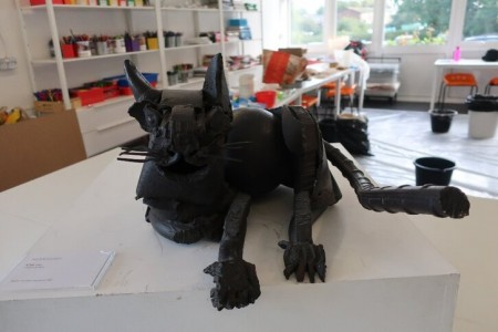 Jane Ackroyd's 'Cat' sculpture in a Harlow school