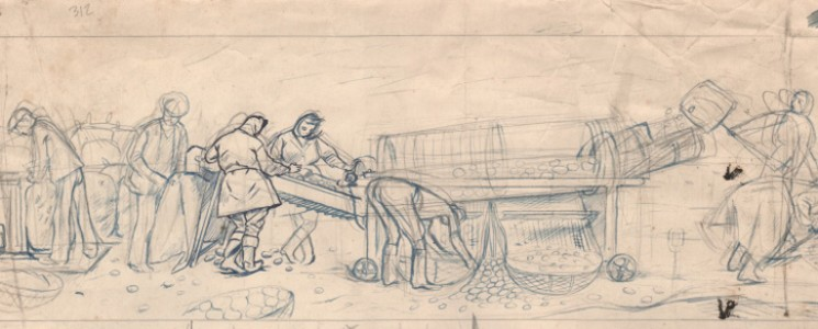 Top half of sketch for 'Potato Sorting, Berwick' (detail)
