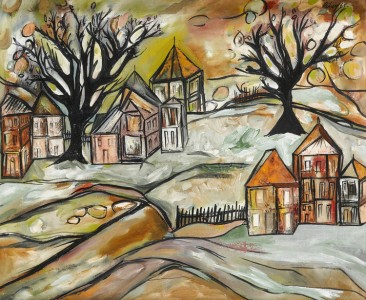 A Hamlet in Holland, 1965, oil on canvas by Lancelot Ribeiro