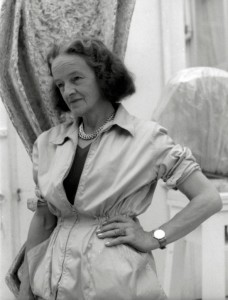 Barbara Hepworth in her carving yard