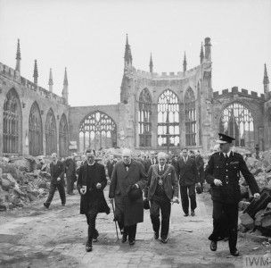 Home Front: Churchill inspecting the ruins of Coventry Cathedral