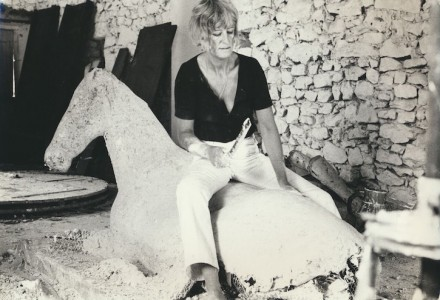 Elisabeth Frink with 'Lying Down Horse', France, 1969