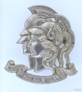 The regimental cap badge of the Artists Rifles
