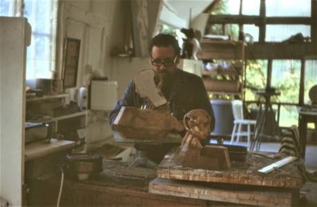 Ayrton in his studio, working on Reflective Heads II, 1971