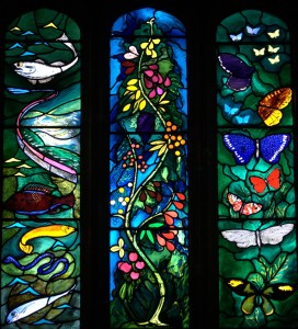 Stained glass window at All Saints Church, Farnborough, West Berkshire