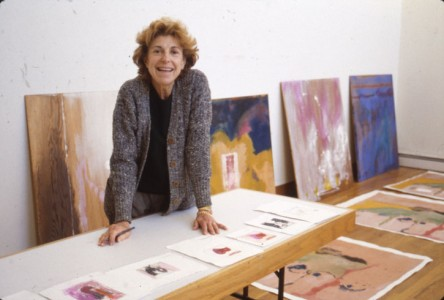 Helen Frankenthaler marks up proofs for 'Valentine for Mr Wonderful' with proofs for the 'Tales of Genji' series in the Tyler Graphics studio, 1995