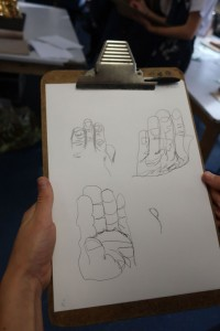A student's experimental drawings of a sculpture from Southampton City Art Gallery