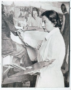 Lotte Laserstein painting her large work 'Evening over Potsdam'