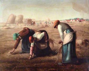 Three Women Gathering Hay with Hay Ricks