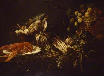 Still Life of a Lobster, Vegetables, Fruit, and Game