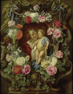 The Virgin and Child in a Cartouche decorated with Flowers