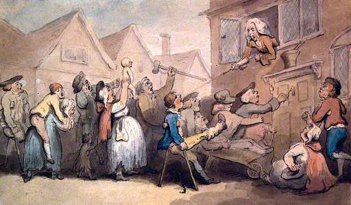A Long Queue of Angry Patients Agitating outside the House of a Doctor (Surgeon-Apothecary); He Squi