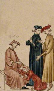 A Sitting Physician Is Trepanning Another Man's Head while Two Others Consult