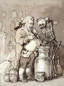 Death as an Apothecary's Assistant Making Up Medicines with a Mortar and Pestle for the Apothecary,