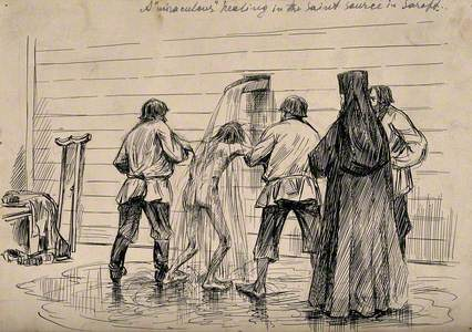 A Crippled Man Being Doused in Water from a Holy Spring to Procure a 'Miraculous' Cure, in Sarepta (