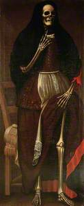 A Skeleton as a Woman Wearing a Brown and Red Dress and a Black Headdress