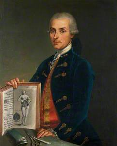 A Man Holding an Anatomy Book with an Engraving of a Woman Showing Her Viscera