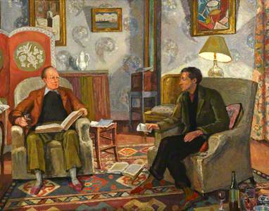 Interior Scene, with Clive Bell and Friend Drinking Wine