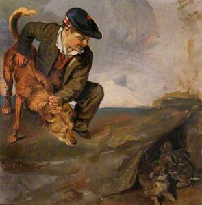 Boy Restraining a Dog