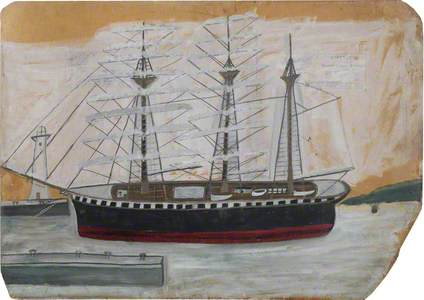 Three-Masted Ship near Lighthouse
