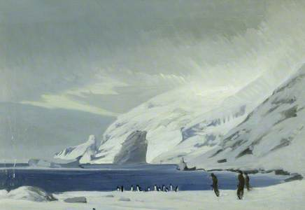 Looking East from Lookout Point, Men and Penguins, Elephant Island, 1916